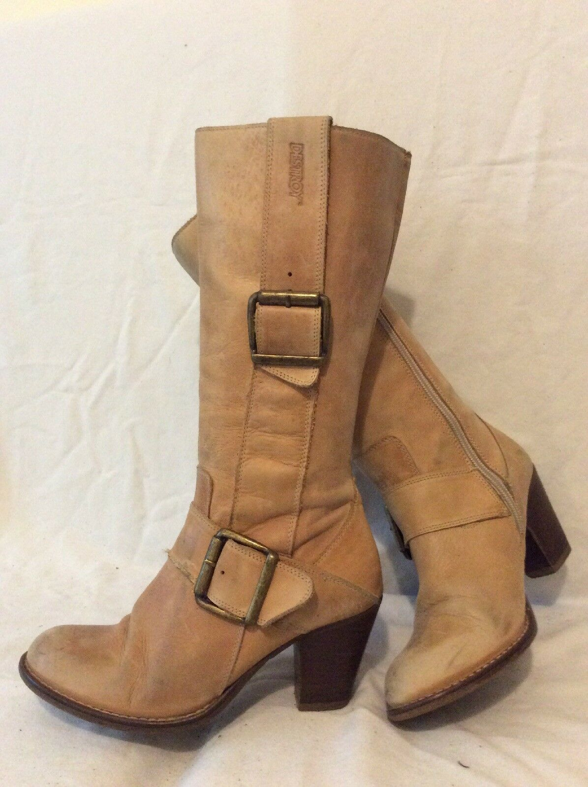 Destroy Beige Mid Calf Leather Boots Size 37