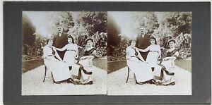 Famille Nel Il Giardino Foto Stereo Amateur snapshot n8 Vintage Citrato c1900