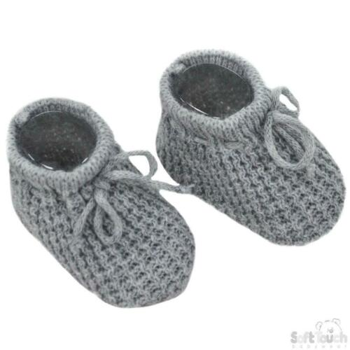 Newborn Baby Knitted Booties Bootees Grey Girl Boy Bow Soft Touch