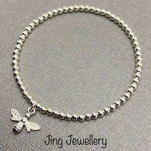 Silver Plated Bead Stacking Bracelet Antique Silver Colour Cute BEE Charm
