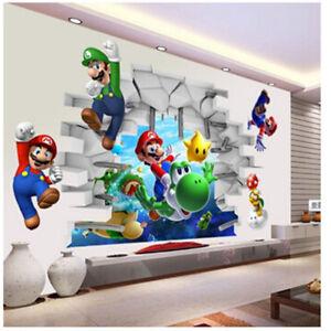 Image Is Loading Cartoon Art Wall Sticker Super Mario Bros