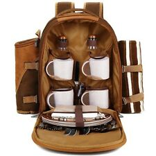 APOLLO WALKER Picnic Backpack for 4 w/ Cooler, Blanket, Cutlery, Plates & More