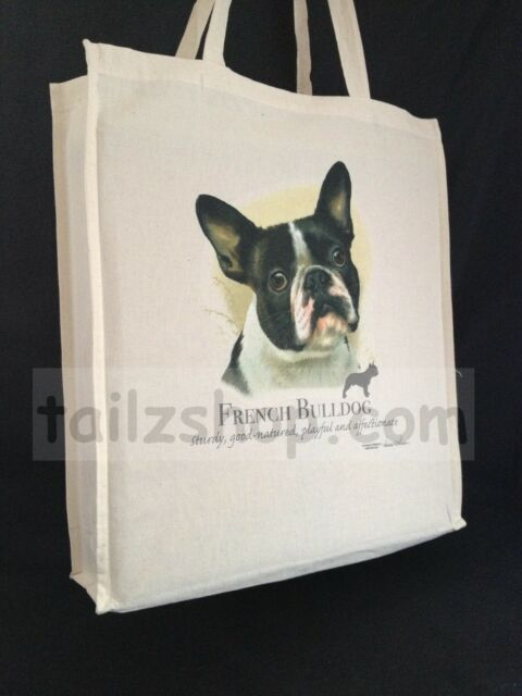 French Bulldog (b) Cotton Shopping Tote Bag with Gusset and Long Handles