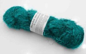Details about 100g Recycled Sari Silk Yarn Hand-spun Teal Blue Soft Yarns