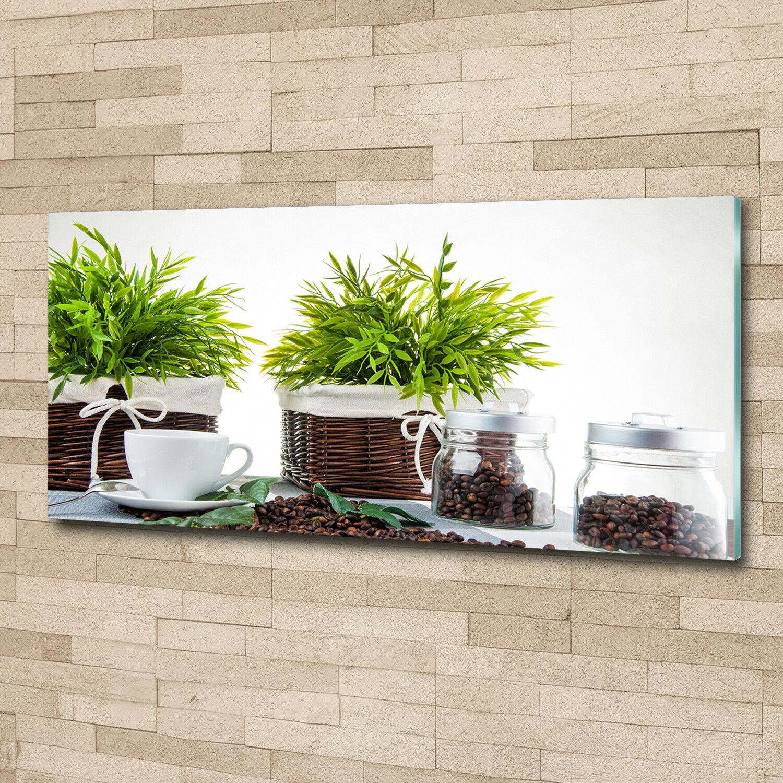 Glas-Bild Wandbilder Druck auf Glas 125x50 Deko Essen & Getränke Pflanzen Kaffee