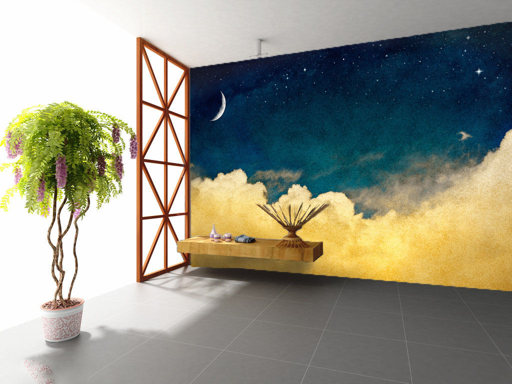3D Stars Sky Clouds 987 Wall Paper Wall Print Decal Wall Deco Wall Indoor Murals