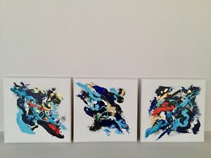 "Original Painting Blue Abstract Acrylic Art canvas Set of 3 paintings 10""x10"""