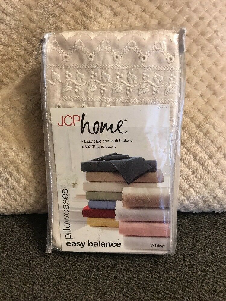"""Jcp Home 2 King Pillowcases 300 TC 21""""x40"""" Ivory Lace"""