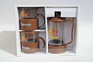 Winnie the Pooh French Press Cafetière Tea Set Cups Disney Piglet - New Sealed