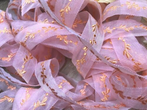 """SHEER Embroidered 3//4 /"""" ORGANZA Ribbon 1 yd Made in France Reversible"""