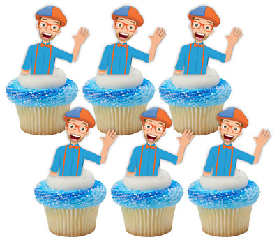 12x Blippi Edible Wafer Cupcake Cake Toppers Party Images ...