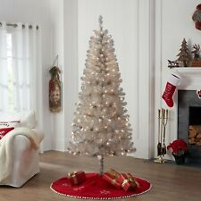 Holiday Time Rose Gold Tinsel Christmas Tree 4 Foot Pre Lit 50 Lights Silver For Sale Online Ebay