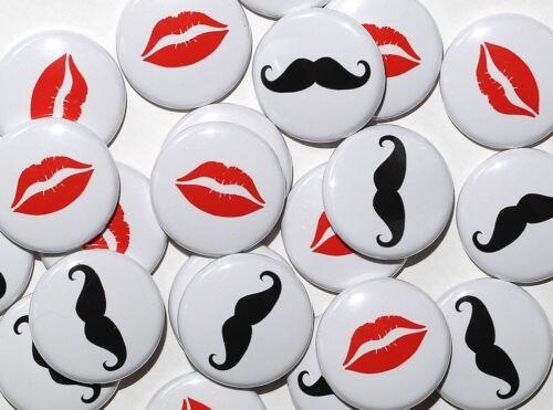 "25 Mustache /& Lips 1/"" Pinbacks Gender Reveal Wedding Party Favors"