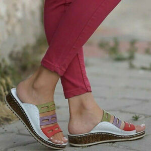 NEW-Summer-2019-Women-Chic-Three-color-stitching-Sandals-Open-Toe-Sandals
