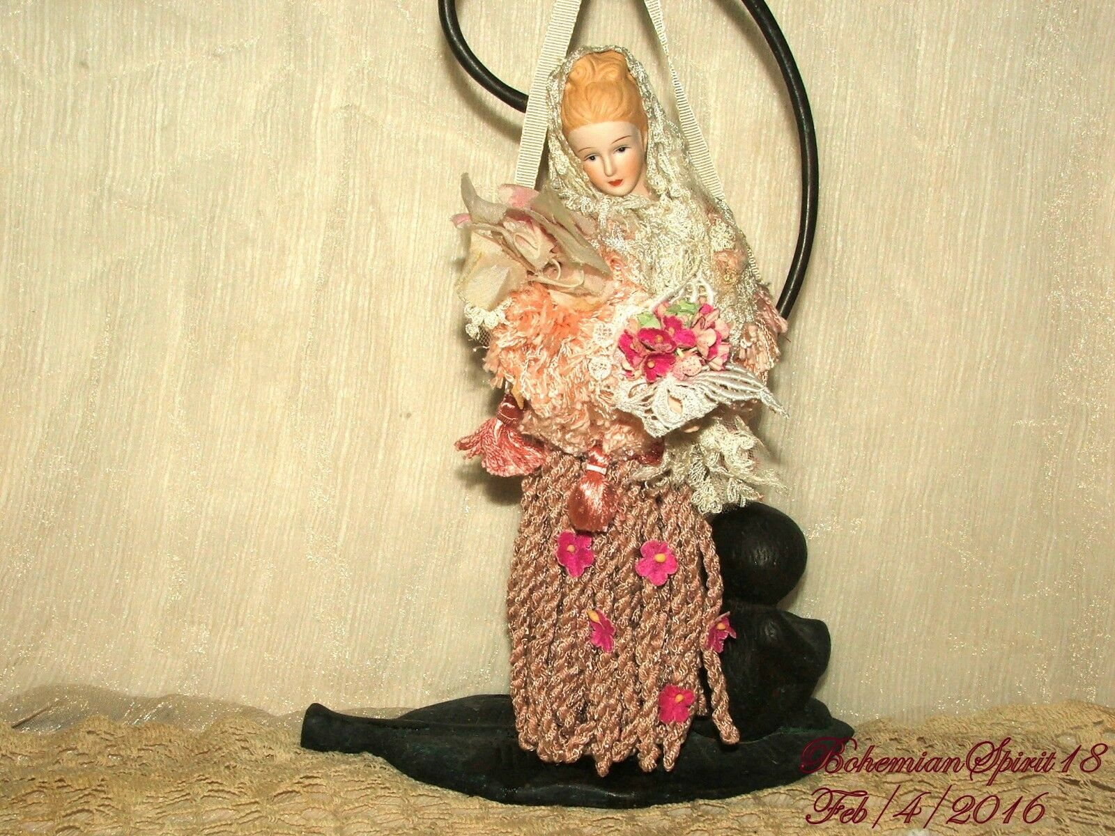 Arturo E.Reyna VICTORIAN MAIDEN Hefatto Porcelain HEAD & ARMS ARMS ARMS HANGING TASSEL e74f0c