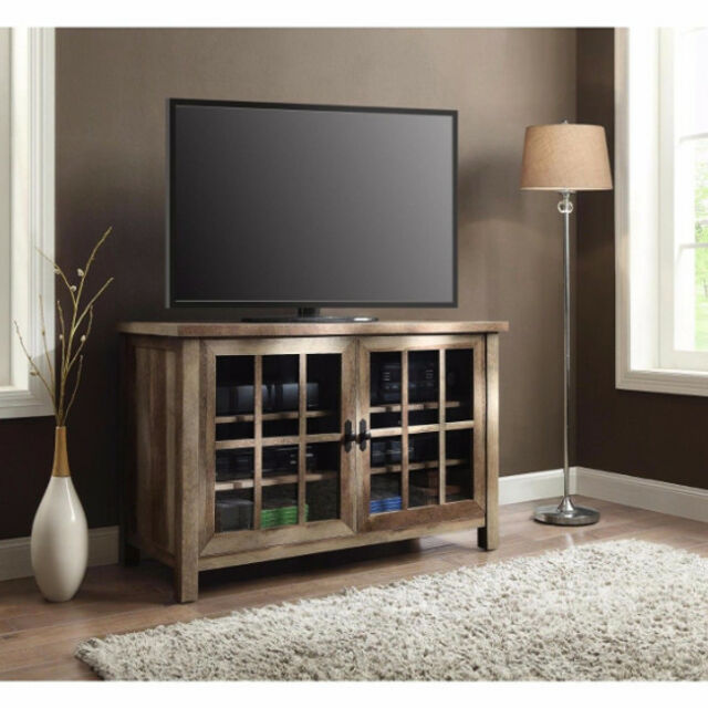 Wooden Tv Stand Console 55 Inch Entertainment Center Media Glass