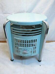 Vintage Mid Century Modern Art deco Lakewood F-12-3 Hassock Floor Fan Aqual Blue