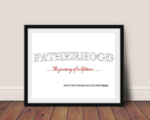 PERSONALISED FATHERHOOD FATHERS DAY PRINT WALL ART PICTURE GIFT
