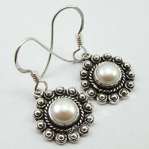 925-Solid-Silver-Natural-AAA-WATER-PEARL-ANTIQUE-LOOK-HANDWORK-Earrings-3-1-CM