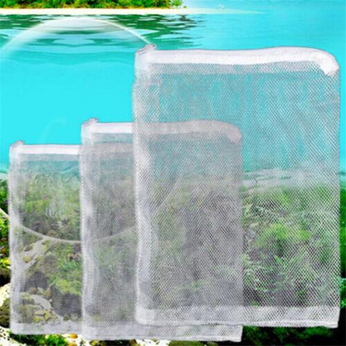 3X Nylon Mesh Aquarium Fish Tank Pond Filter Supplies Media Zip Net Bag 5 Sizes