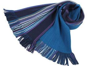Herren-Damenschal-Strickschal-aus-100-Merinowolle-mit-Fransen-blau-gestreift