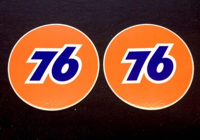 """2 Union 76 3/"""" Inch Round Gas Station Gasoline Oil Decal Sticker Original Unocal"""