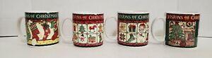 Sakura-VTG-1996-Debbie-Mumm-Vision-Of-Christmas-Set-of-4-Coffee-Mugs