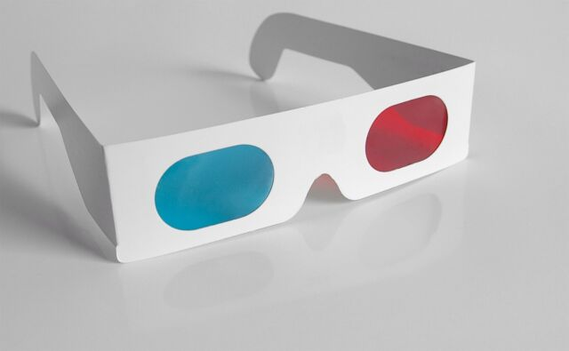 100 X 3-D paper glasses red cyan / blue anaglyph movie game SHIPS FREE FROM US