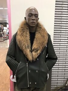 e9da40a66 Details about MASON & COOPER | EMPIRE LEATHER MOTO JACKET WITH RACCOON FUR