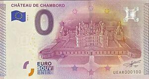 BILLET-0-EURO-CHATEAU-DE-CHAMBORD-N-2-FRANCE-2015-NUMERO-100