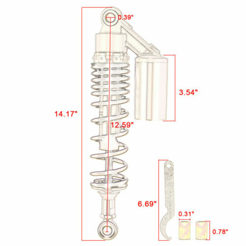 """320mm 12.5/"""" Motorcycle Eye To Eye Shock Absorber 7mm Spring Round End Silver"""