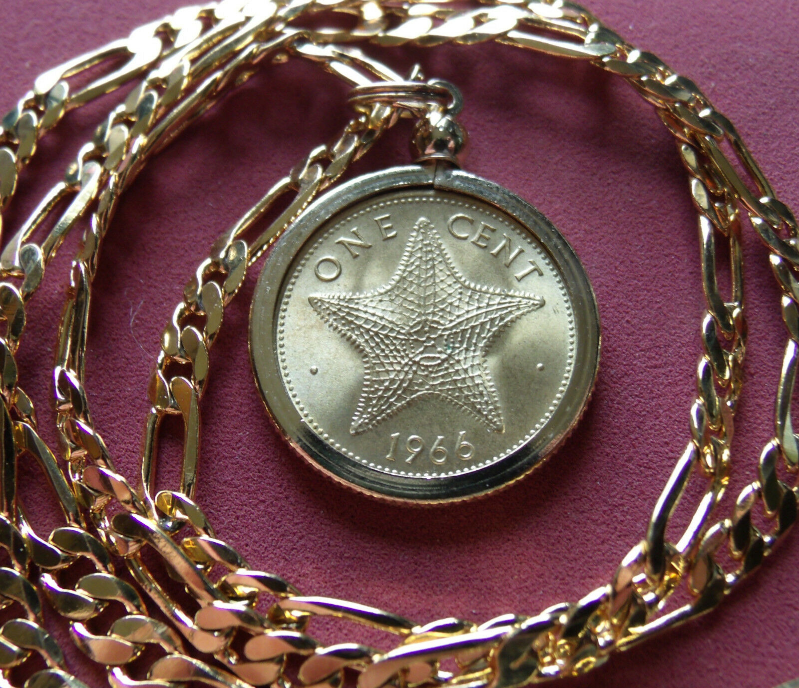 "1987 UK Two Pence Proof Coin Pendant on an 18K  28/"" Gold Filled Foxtail Chain"