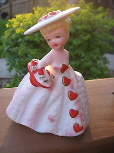 Vintage Lefton February Valentine's Day Girl w Hearts & Basket Planter Vase