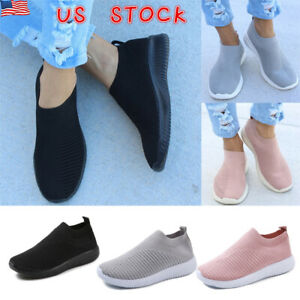 Womens-Mesh-Comfy-Sock-Shoes-Ladies-Slip-On-Gym-Sport-Running-Sneakers-Trainers