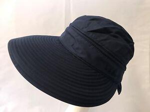 dfab253e5 Details about Summer Beach Women's Wide Large Brim Sun Canvas Hat Visor  Removable Cap Navy