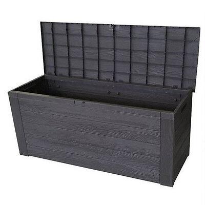 Black Wood Effect 300L Garden Storage Box Outdoor Utility Container