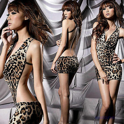HOT Wild Sexy Leopard Backless TeddiesClub Mini Dress/ Night Lingerie Sleepwear