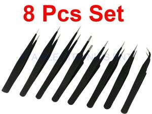8pcs ESD Anti-Static Stainless Steel Tweezers Tweezer Maintenance Tools Kits Set