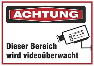 schild achtung dieser bereich wird video berwacht kunststoff 297 x210 ebay. Black Bedroom Furniture Sets. Home Design Ideas
