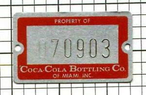 RARE-Old-COCA-COLA-Bottling-Co-of-Miami-Aluminum-Inventory-Tag