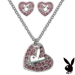 Playboy-Jewelry-Set-Necklace-Earrings-Silver-Pink-Swarovski-Crystal-Heart-Bunny