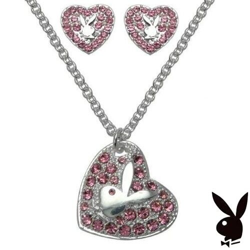 Playboy Jewelry Necklace Earrings Silver Pink Crystal Bunny Heart CZ GRADUATION