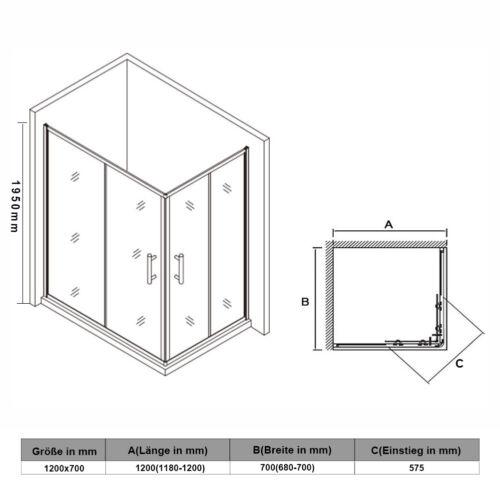 Duschkabine Eckeinstieg schiebetür Duschabtrennung ESG Glas Dusche Duschwand 195