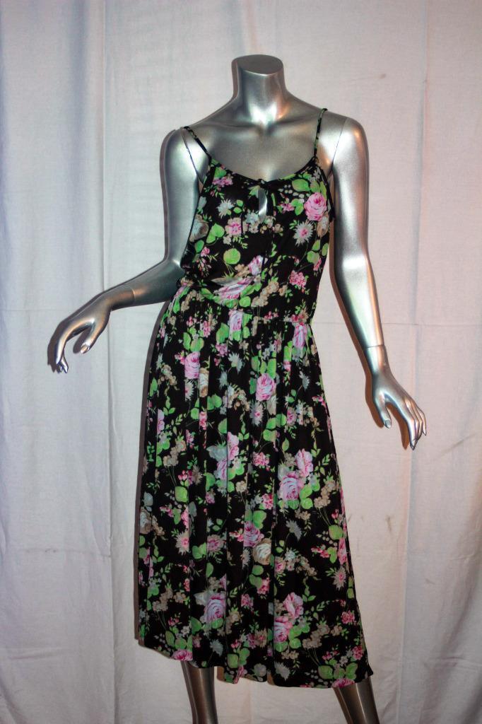 Vintage 1970s DIANE VON FURSTENBERG  Sleeveless Floral Dress Größe 14