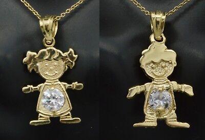 14k solid yellow gold boy or girl Month Birthstone cz Stone charm