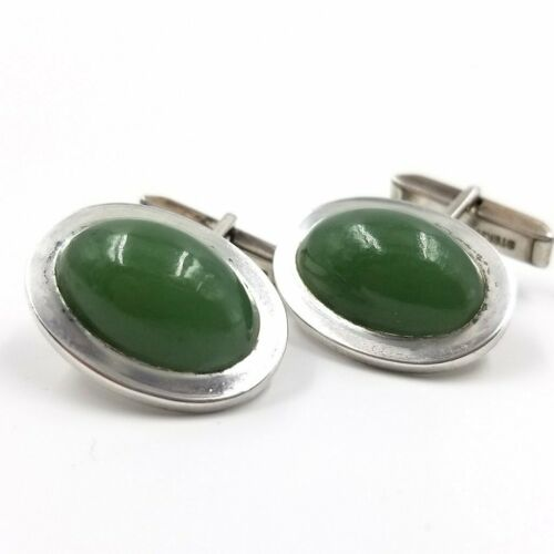 RARE 1948 Gump's  Sterling Silver and Nephrite Jad