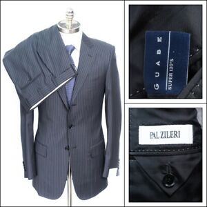 NWT-PAL-ZILERI-Italy-Charcoal-Gray-Striped-Super-130-039-s-Wool-Suit-48-8L-38-L