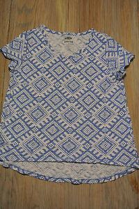 OLD-NAVY-Short-Sleeve-BLUE-amp-WHITE-T-shirt-Geometric-Pattern-Girls-Sz-M-8-EUC