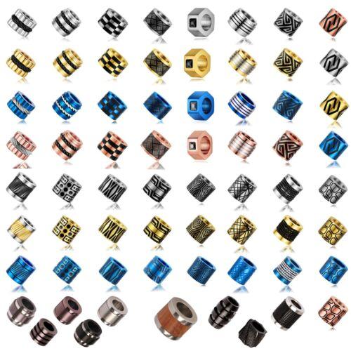 Beads Perlen Bart Perle Edelstahl Metall Großloch 6mm CNC Firestone Bead Nr 03