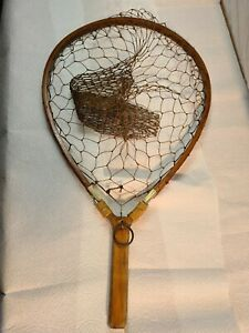 Early-vintage-handmade-trout-landing-net-to-hand